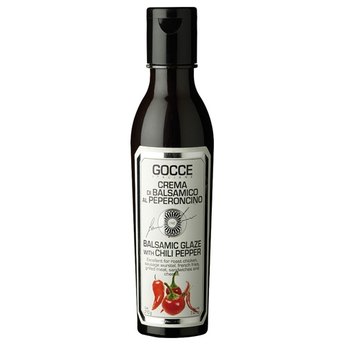 Gocce dunkle Balsamicocreme mit Chili, 210ml.