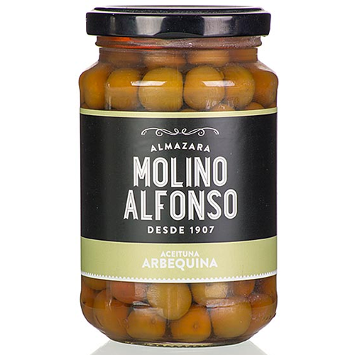 Molino Alfonso, grüne Arbequina Oliven, mit Kern, in Lake, 200g,