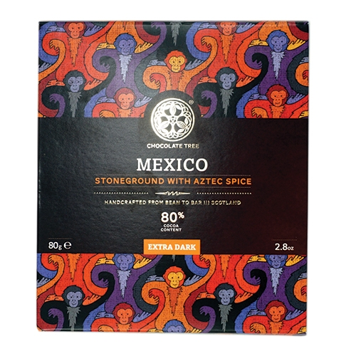Chocolate Tree, Mexican Stoneground Aztec Spice 80%, BIO, 80g.