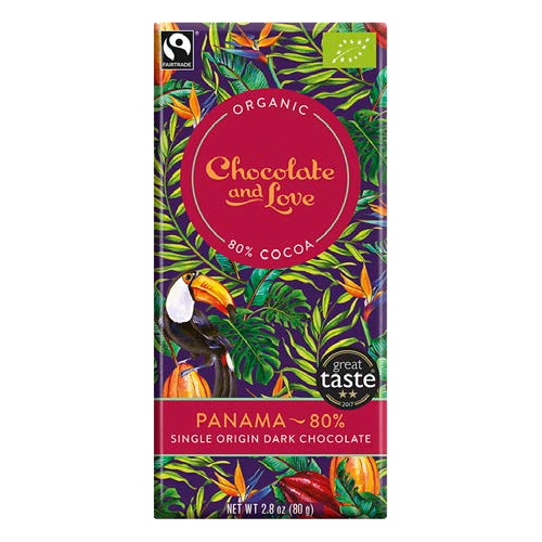 Chocolate and Love, Dunkle Schokolade Panama, BIO, 80%, 80g.