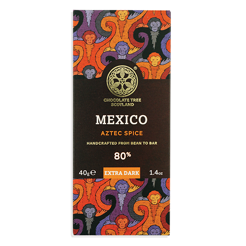 Chocolate Tree, Mexican Stoneground Aztec Spice 80%, BIO, 40g.