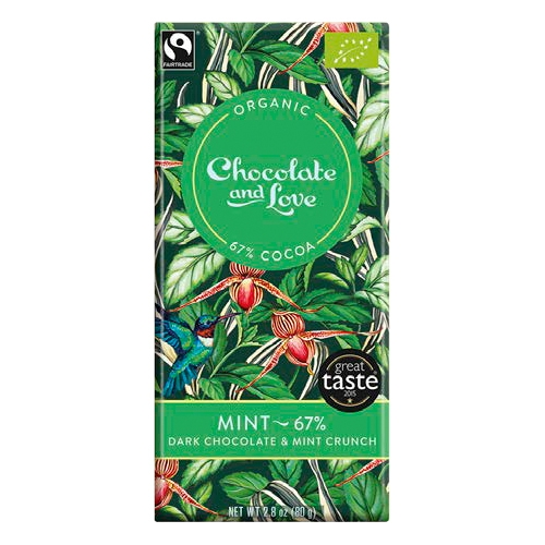 Chocolate and Love, Dunkle Schokolade mit Minzcrunch, BIO, 67%, 80g.